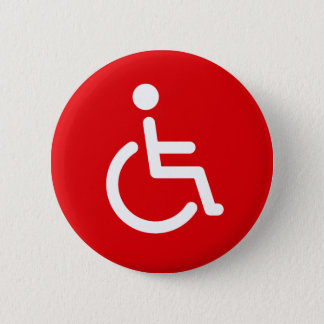 Disabled symbol or red and white handicap sign 6 cm round badge