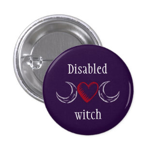 Disabled witch 3 cm round badge