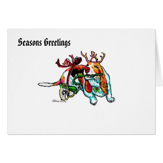 Disabled Xmas Basset Hound Greetings Card