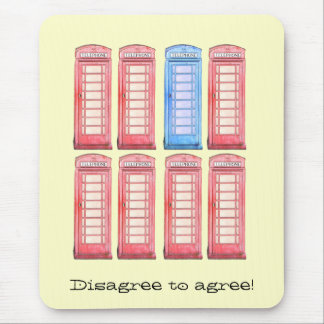 disagree to agree - british phone booth mouse pad