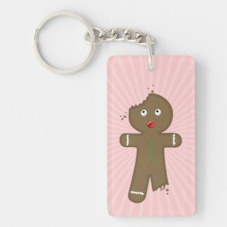 Disappearing Gingerbread Man Double-Sided Rectangular Acrylic Key Ring