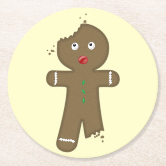 Disappearing Gingerbread Man Round Paper Coaster
