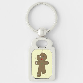 Disappearing Gingerbread Man Silver-Colored Rectangle Key Ring