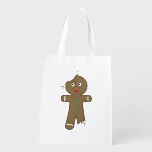 Disappearing Gingerbread Man Reusable Grocery Bags