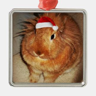 Disapproving Bunny Rabbit Santa Ornament