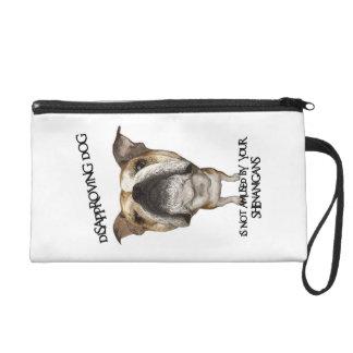 Disapproving Dog Bulldog Not Amused by Shenanigans Wristlet Purse