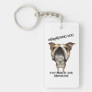 Disapproving Dog Bulldog Not Amused by Shenanigans Rectangle Acrylic Keychains