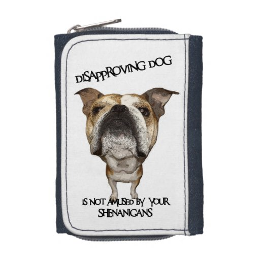 Disapproving Dog Bulldog Not Amused by Shenanigans Wallets