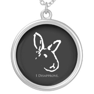 Disapproving Rabbits Black Necklace
