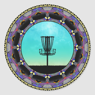 Disc Golf Abstract Basket 3 Classic Round Sticker