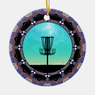 Disc Golf Abstract Basket 3 Round Ceramic Decoration