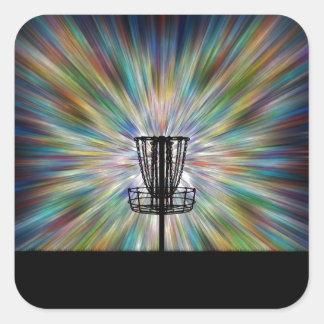 Disc Golf Basket Silhouette Square Sticker