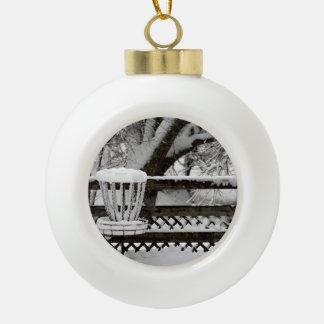 Disc Golf Goal Post in Snow Ceramic Ball Decoration