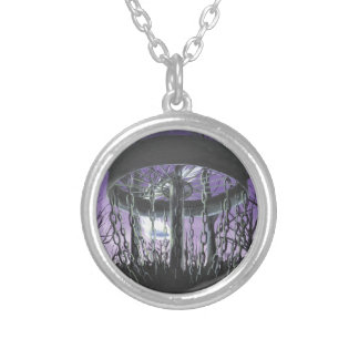 disc golf silver plated necklace