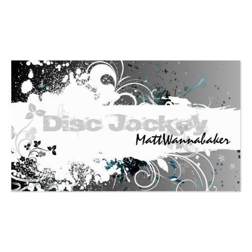 Disc Jockey Business Card Grunge Splatter Gray