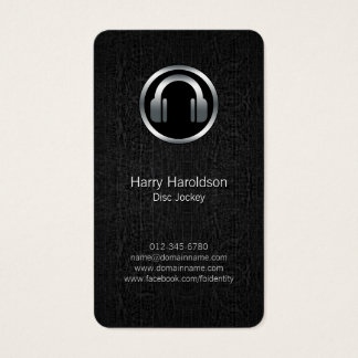 Disc Jockey DJ Headphones BlackGrunge BusinessCard Business Card