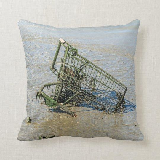Discarded shopping trolley throw cushion