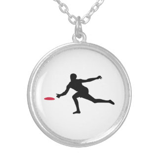 Discgolf player silver plated necklace