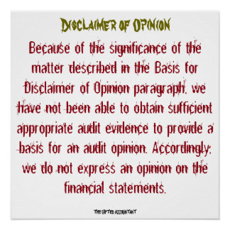 """Disclaimer of Opinion"""
