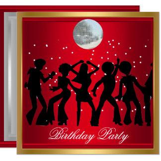 Disco 70's Birthday Party Red retro Card