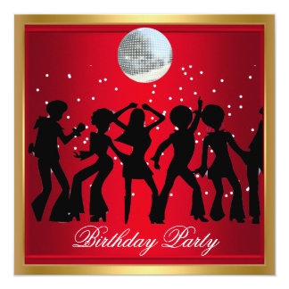 Disco 70's Birthday Party Red retro Card