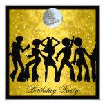 Disco 70's Birthday Party  Retro 5.25x5.25 Square Paper Invitation Card