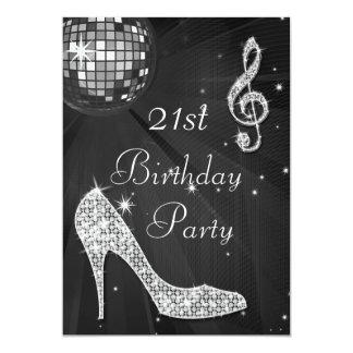 Disco Ball and Heels Black & Silver 21st Birthday 13 Cm X 18 Cm Invitation Card