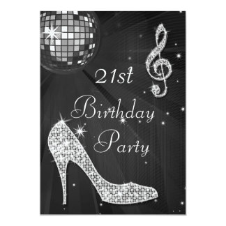 Disco Ball and Heels Black & Silver 21st Birthday Card