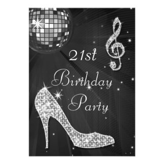 Disco Ball and Heels Black Silver 21st Birthday Invite