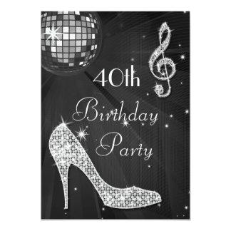 Disco Ball and Heels Black & Silver 40th Birthday 13 Cm X 18 Cm Invitation Card
