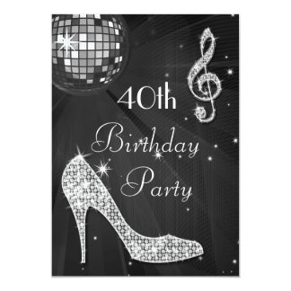 Disco Ball and Heels Black & Silver 40th Birthday Card