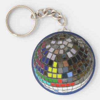disco ball basic round button key ring