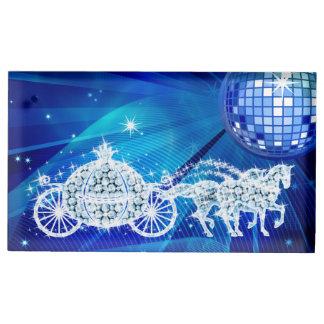 Disco Ball, Blue Princess Coach & Horses Table Card Holder