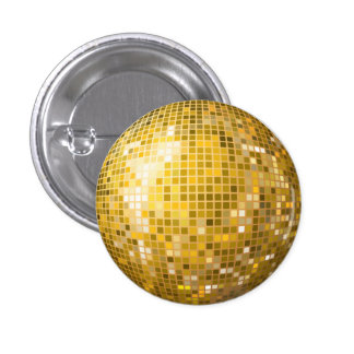Disco Ball Gold Button