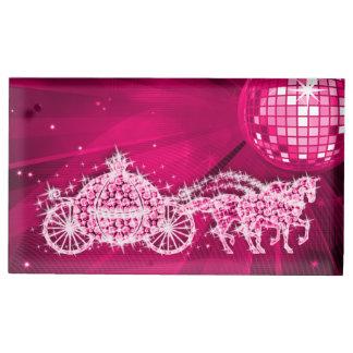 Disco Ball, Pink Princess Coach & Horses Table Card Holders
