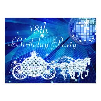 Disco Ball, Princess Coach & Horses 18th Birthday 13 Cm X 18 Cm Invitation Card