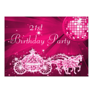 Disco Ball, Princess Coach & Horses 21st Birthday Card