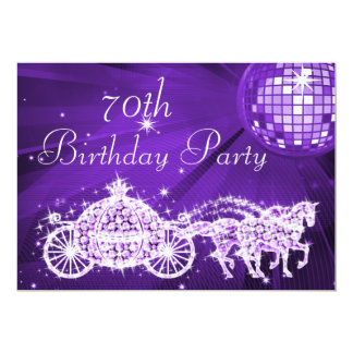 Disco Ball, Princess Coach & Horses 70th Birthday 13 Cm X 18 Cm Invitation Card
