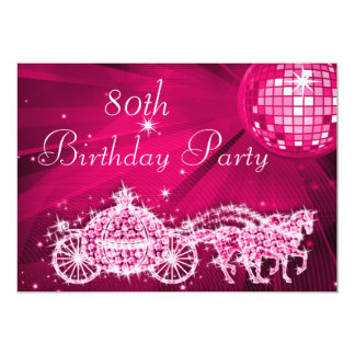 Disco Ball, Princess Coach & Horses 80th Birthday Card