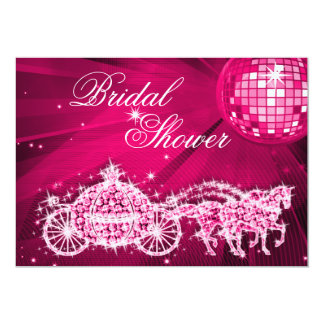 Disco Ball, Princess Coach & Horses Bridal Shower 13 Cm X 18 Cm Invitation Card