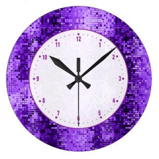 Disco Ball Purple Glitter And Sparkles Large Clock
