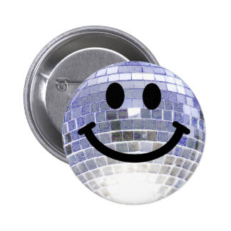 Disco Ball Smiley 6 Cm Round Badge
