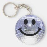 Disco Ball Smiley Basic Round Button Key Ring
