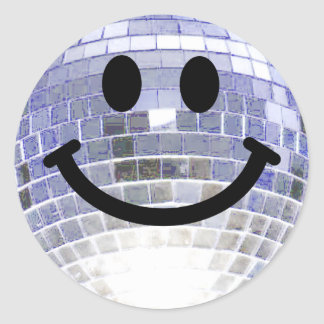 Disco Ball Smiley Classic Round Sticker
