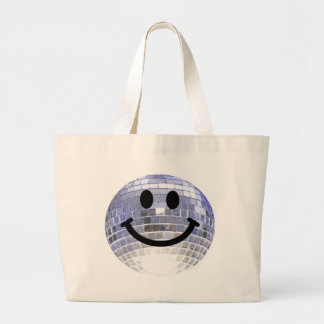 Disco Ball Smiley Large Tote Bag