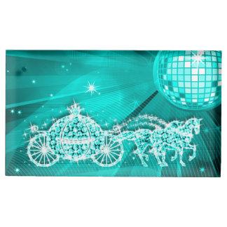 Disco Ball, Teal Princess Coach & Horses Table Card Holders