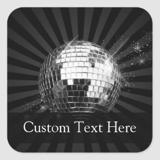 Disco Ball w/Black Background Square Sticker