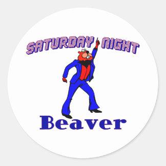 Disco Beaver Round Sticker
