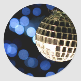 Disco Christmas card Round Sticker