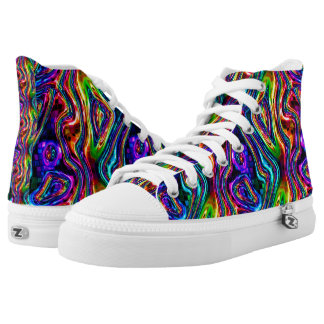 DISCO CLUB NEON LIGHTS PARTY mosaic waves High Tops